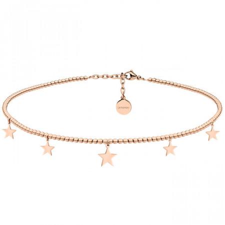 Naszyjnik choker z drobnych kuleczek z gwiazdkami, różowe złoto