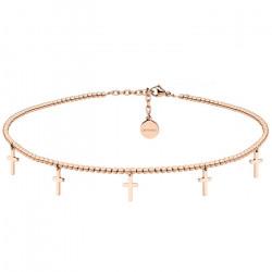 Naszyjnik choker z krzyżykami, różowe złoto