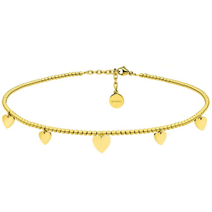 Naszyjnik choker z kuleczek z serduszkami, kolor złoty