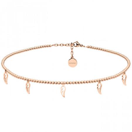 Naszyjnik choker z piórkami, różowe złoto