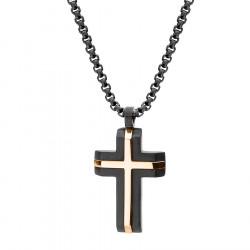 Naszyjnik czarny krzyż z różowym złotem