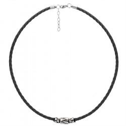 Naszyjnik czarny rzemień naturalny z beadsami