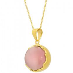 Naszyjnik damski na złotym łańcuszku, różowe kocie oko