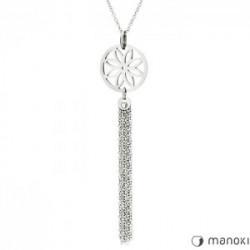 naszyjnik damski w kolorze srebrnym, chwost i kwiat