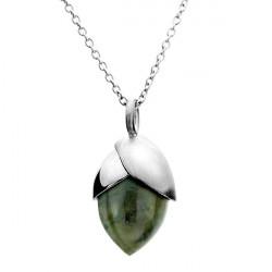 Naszyjnik damski w kształcie żołędzia z labradorytem, kolor srebrny
