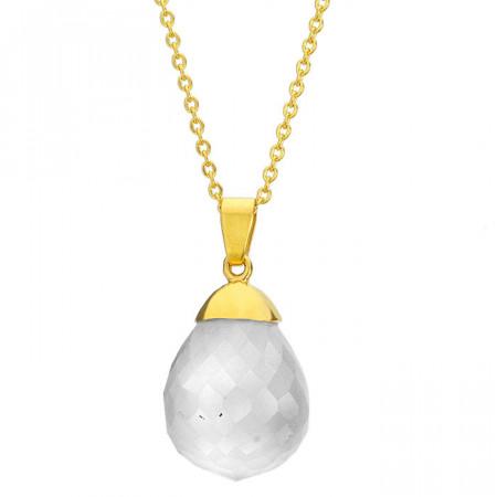 Naszyjnik damski z białym kwarcem, złoty łańcuszek