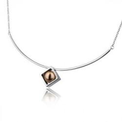 Naszyjnik damski z brązową perłą Swarovski