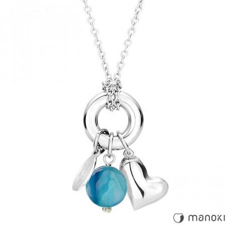 naszyjnik damski z niebieskim agatem, symbol karmy, stalowe serduszko