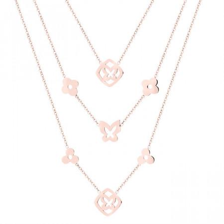 Naszyjnik damski z trzech łańcuszków, motylek i kwiaty, różowe złoto