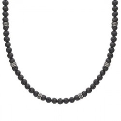 Naszyjnik lawa wulkaniczna i beadsy