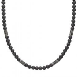 Naszyjnik lawa wulkaniczna i beadsy etno