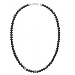 Naszyjnik męski czarny onyks z beadsami styl etno
