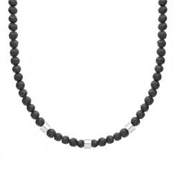Naszyjnik męski lawa wulkaniczna z elementami beads