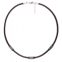 Naszyjnik męski rzemień brązowy z etnicznymi beadsami