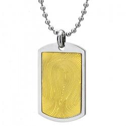Naszyjnik męski, srebrno-złoty nieśmiertelnik