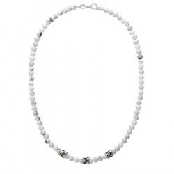 Naszyjnik męski z białymi kamieniami howlit beadsy w stylu etno