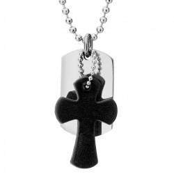 Naszyjnik męski z nieśmiertelnikiem i krzyżem