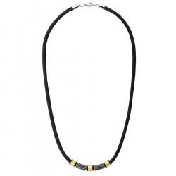 Naszyjnik męski złoto srebrny z ornamentami ze stali na sznurku