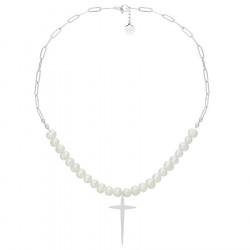 Naszyjnik perły z łańcuchem i krzyżem stal szlachetna