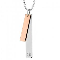 Naszyjnik SIMPLE, dwie blaszki na kulkowym łańcuszku, różowe złoto