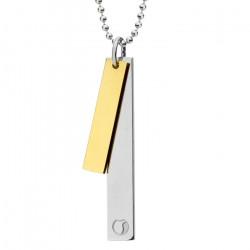 Naszyjnik SIMPLE, dwie blaszki na kulkowym łańcuszku, kolor złoty