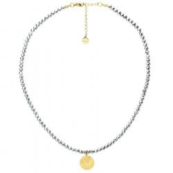 Naszyjnik srebrny hematyt ze złotym medalionem
