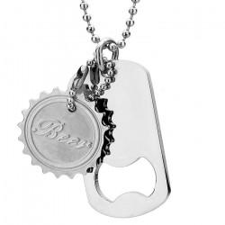 Naszyjnik, srebrny nieśmiertelnik z otwieraczem