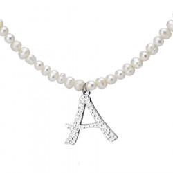 Naszyjnik z literką A z perłami
