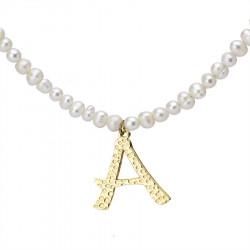 Naszyjnik z literką A z perłami, pozłacany