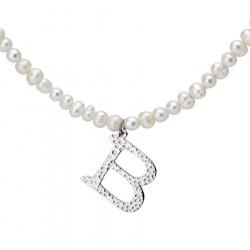 Naszyjnik z literką B z perłami