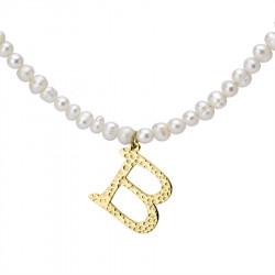 Naszyjnik z literką B z perłami, pozłacany