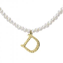 Naszyjnik z literką D z perłami, pozłacany