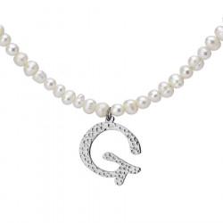 Naszyjnik z literką G z perłami
