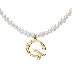Naszyjnik z literką G z perłami, pozłacany