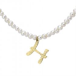 Naszyjnik z literką H z perłami, pozłacany