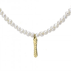 Naszyjnik z literką I z perłami, pozłacany