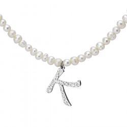 Naszyjnik z literką K z perłami
