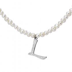 Naszyjnik z literką L z perłami