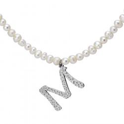 Naszyjnik z literką M z perłami