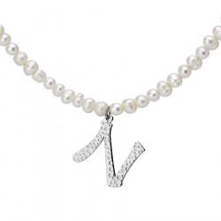 Naszyjnik z literką N z perłami