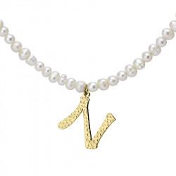 Naszyjnik z literką N z perłami, pozłacany