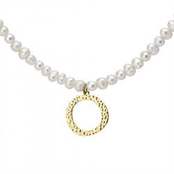 Naszyjnik z literką O z perłami, pozłacany