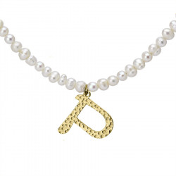 Naszyjnik z literką P z perłami, pozłacany