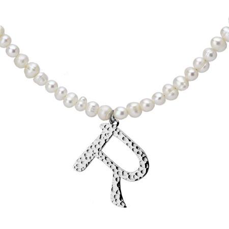 Naszyjnik z literką R z perłami