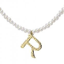 Naszyjnik z literką R z perłami, pozłacany