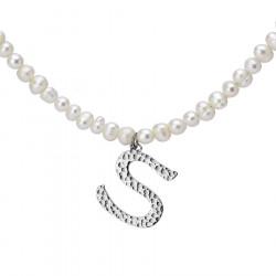 Naszyjnik z literką S z perłami