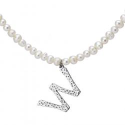 Naszyjnik z literką W z perłami