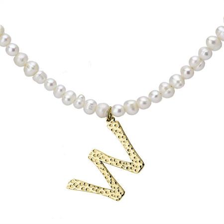 Naszyjnik z literką W z perłami, pozłacany