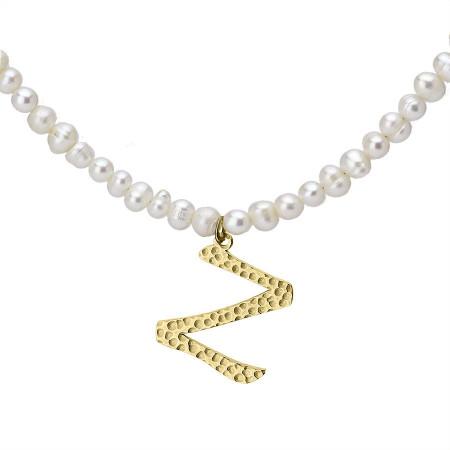 Naszyjnik z literką Z z perłami, pozłacany