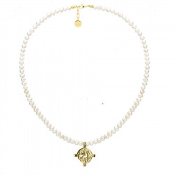Naszyjnik z perłami i pozłacaną monetą